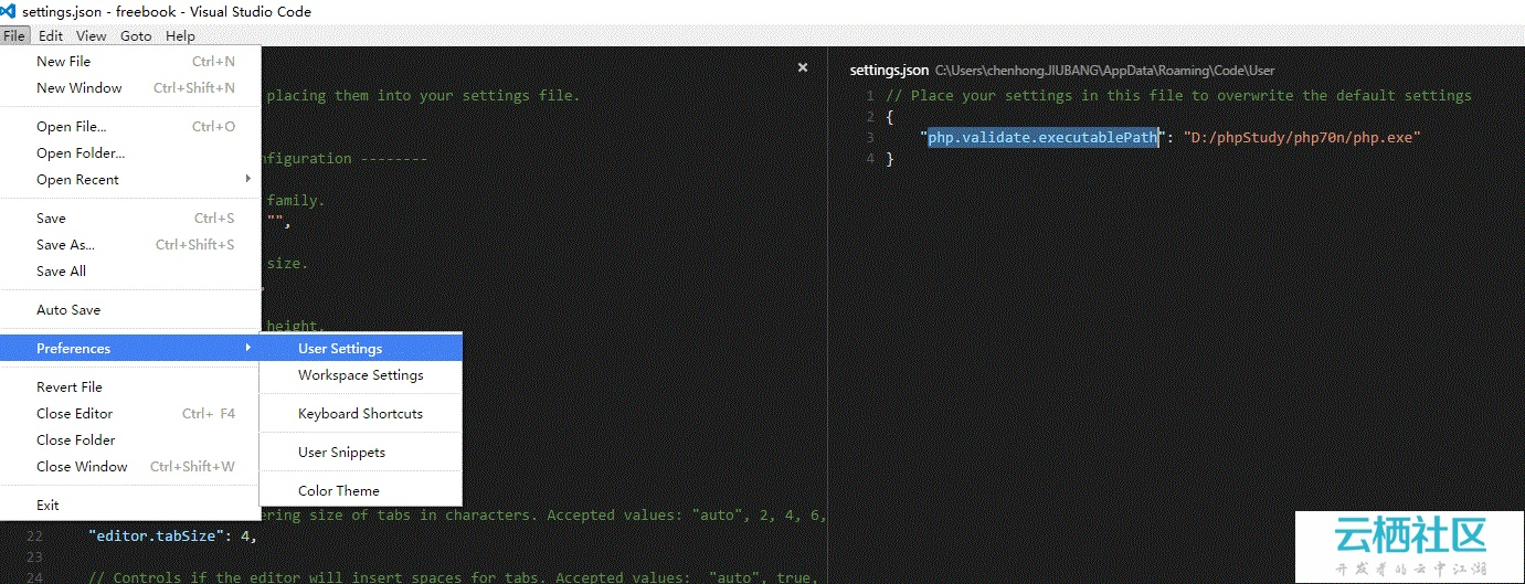 visual studio code 编辑器php 显示  php.validate.executablePath